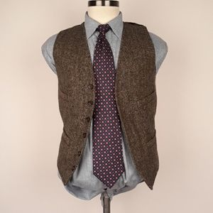J CREW Brown Moon Tweed Wool Mens Sz S Vest
